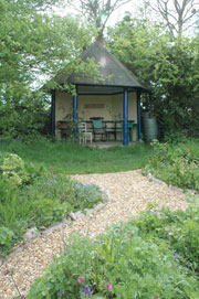 A little hut in Gaia House grounds