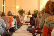 In the meditation hall at Gaia House