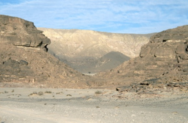 The orange-pink rock stands out against the blue of the sky in the dramatic Sinai desert      Photo © Queen of Retreats