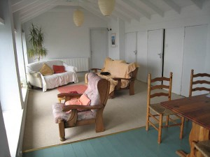 The inside of one of the self-catering cottages at Dzogchen Beara
