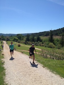 Running in the grounds at the Chateau Robernier in France