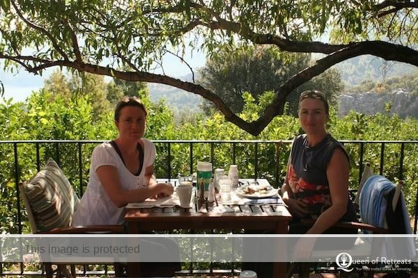 Caroline and Jools share breakfast on a Method Putkisto holiday in Turkey