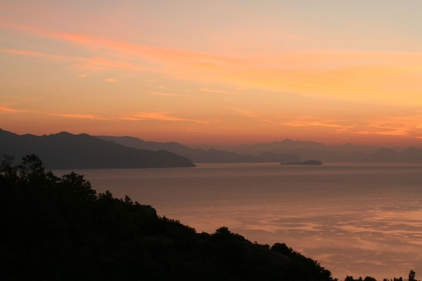 Sunset over the bay at The Dionysus Estate, Turkey