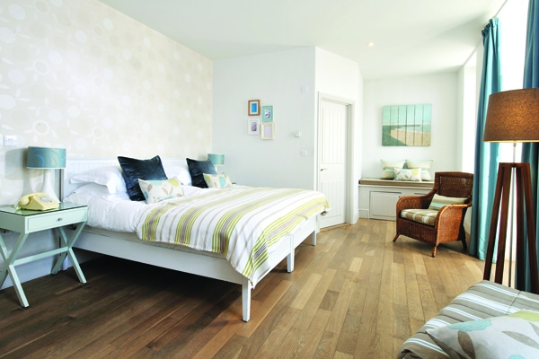 A typical bedroom at Watergate Bay hotel