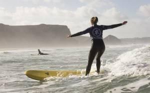 Surfing on Watergate Bay