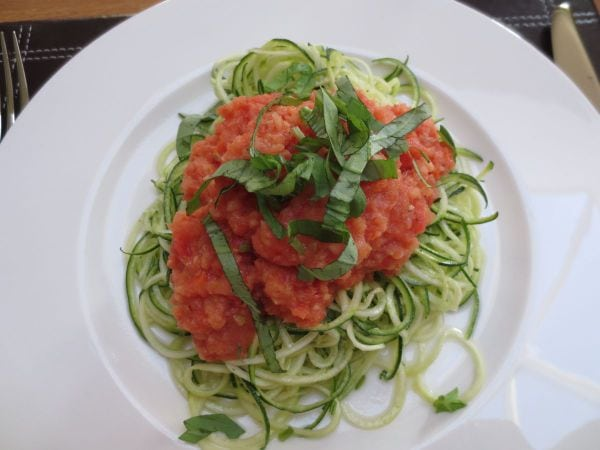 Courgette spaghetti - a raw food supper at Split Farthing Hall