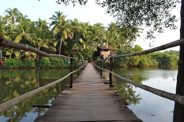 The bridge connecting Ashiyana yoga retreat to the local village in Goa