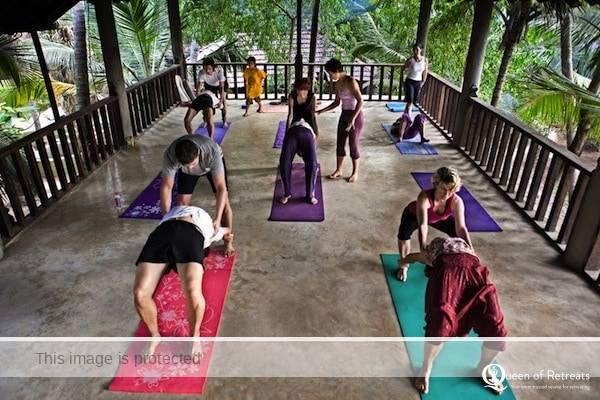 A yoga class in progress at Ashiyana