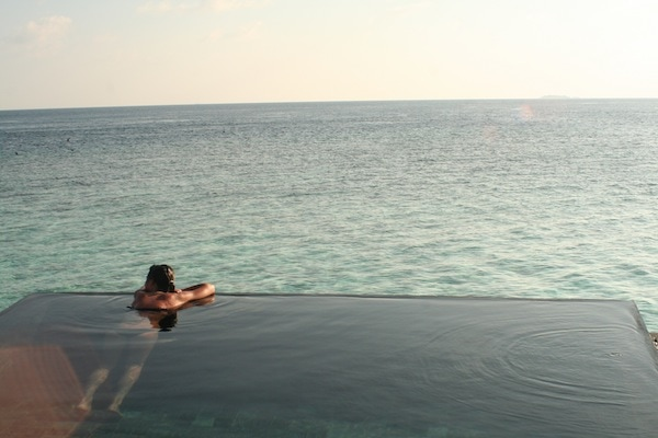 In the hot pool at Constance Halaveli, a peaceful island resort in the Maldives