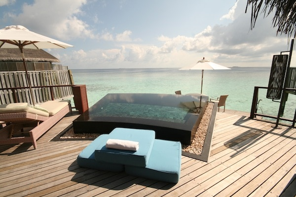 The deck of our water villa
