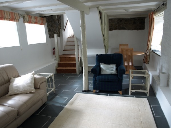 The sitting room at The Raw Retreat, Cornwall