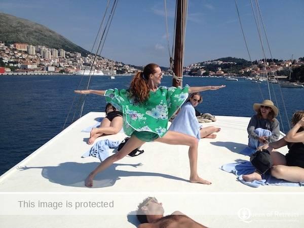 Erica on a boat in Croatia