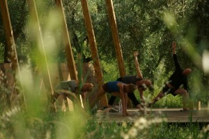 The outdoor yoga shala at  In Sabina is a real feature