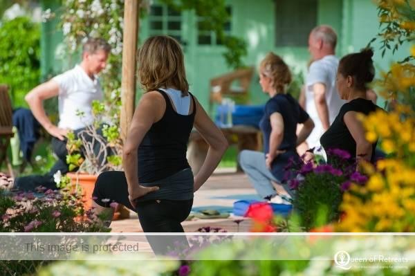 Yoga class outside at Kalioyga Spain