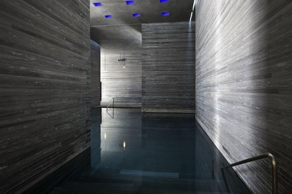 The stone surround of the sound bath at Therme Vals