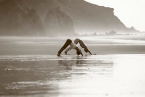 Beach yoga at Algarve Yoga