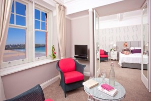 A bedroom at the Headland Hotel
