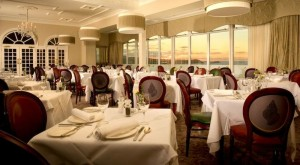 The traditional dining room has sea views