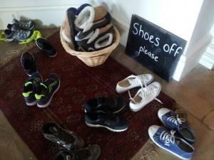 Sharpham, Devon shoes off slippers on