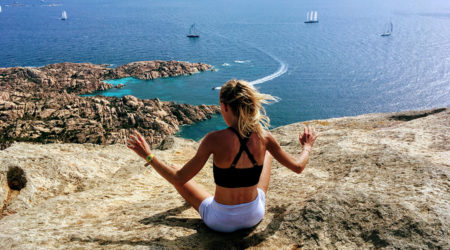 Mountain beach fitness sardinia reflection